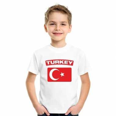 T-shirt turkse vlag wit kinderen