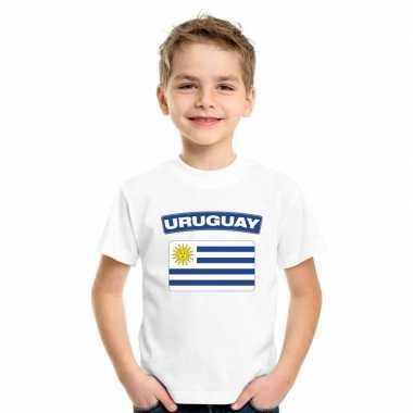 T-shirt uruguayaanse vlag wit kinderen