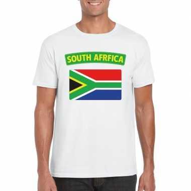 T-shirt zuid afrikaanse vlag wit heren