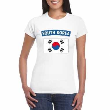 T-shirt zuid koreaanse vlag wit dames