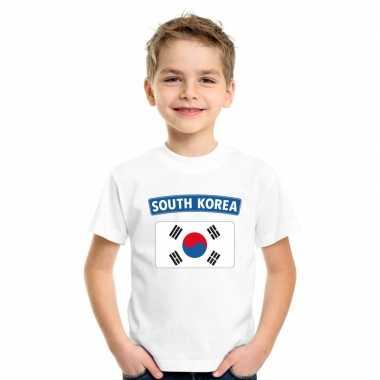 T-shirt zuid koreaanse vlag wit kinderen