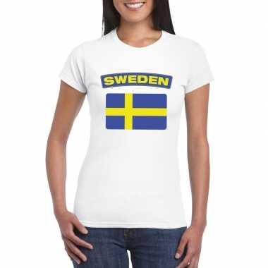 T-shirt zweedse vlag wit dames