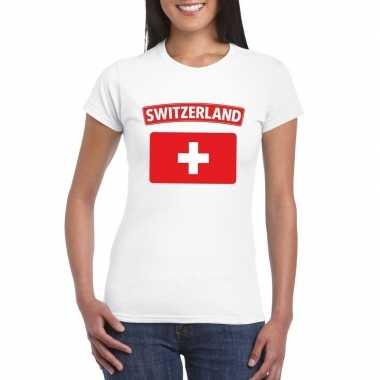 T-shirt zwitserse vlag wit dames