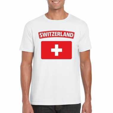 T-shirt zwitserse vlag wit heren