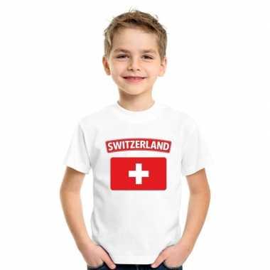 T-shirt zwitserse vlag wit kinderen