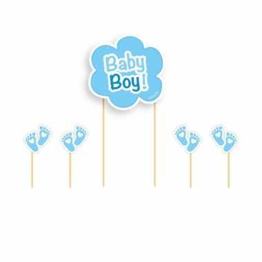 Taartversiering baby boy blauw