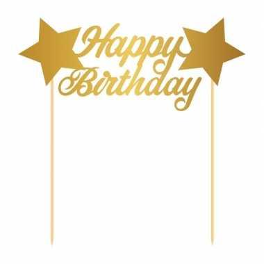 Taartversiering happy birthday goud