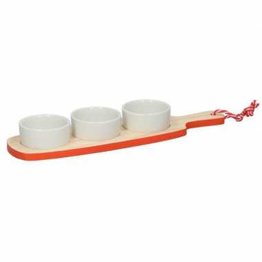 Tapas serveer plank rood/oranje met serveerschaaltjes