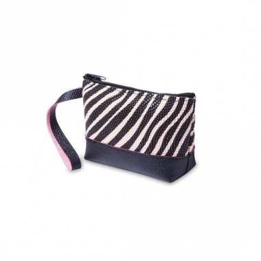 Tasje voor make up zebraprint zwart / creme 15 cm