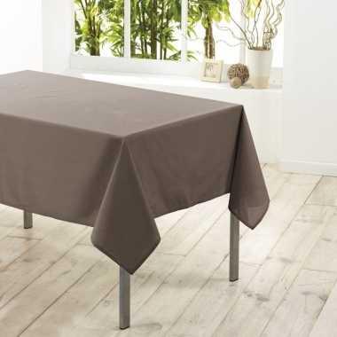 Taupe tafelkleden/tafellakens 140 x 250 cm rechthoekig van stof