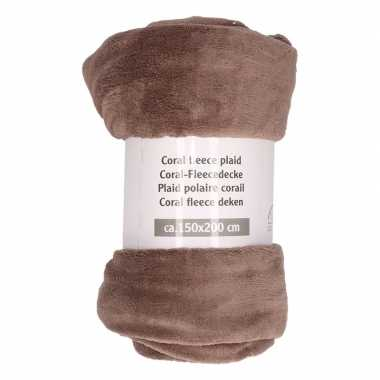Taupe warme fleece deken 150 x 200 cm