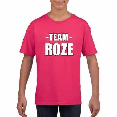 Team roze shirt jongens en meisjes voor evenement