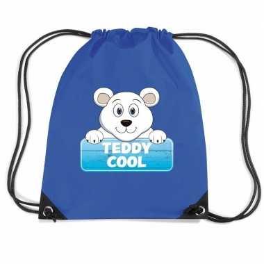 Teddy cool de ijsbeer trekkoord rugzak / gymtas blauw voor kinderen