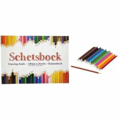 Tekeningenboek met kleurpotloden a4 papier