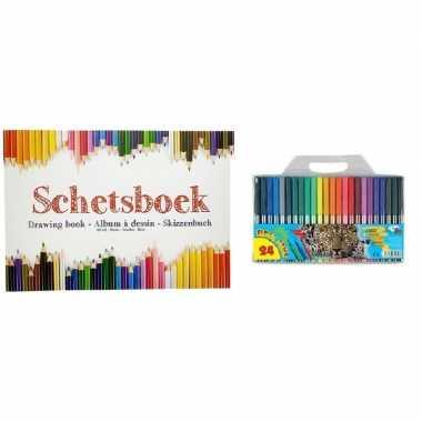 Tekeningenboek met viltstiften a4 papier