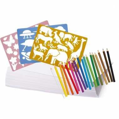 Tekenpakket met potloden en sjablonen
