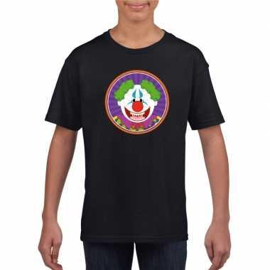 Terrorclown halloween t-shirt zwart voor jongens en meisjes