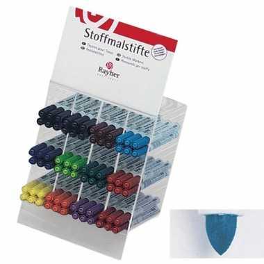 Textielstift blauw met dunne punt