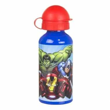 The avengers aluminium sport bidon blauw 400 ml