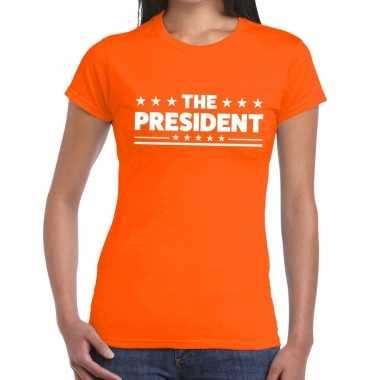 The president fun t-shirt oranje voor dames