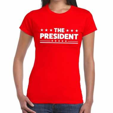 The president fun t-shirt rood voor dames
