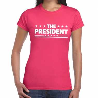 The president fun t-shirt roze voor dames
