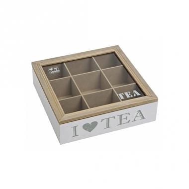 Theedoos wit van hout i love tea 24 x 24 cm