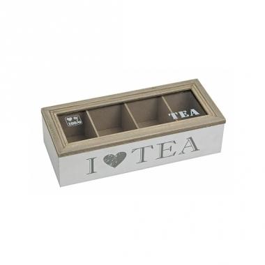 Theedoos wit van hout i love tea 26 x 11