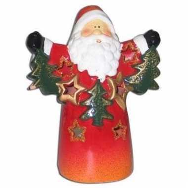 Theelichthouder kerstman met sterren 13 cm