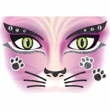 Thema gezicht folie poezen/katten sticker 1 vel