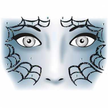 Thema gezicht folie spinnenweb sticker 1 vel