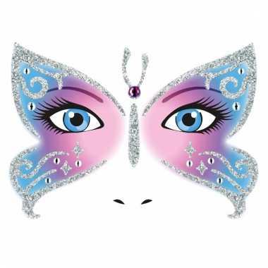 Thema gezicht folie vlinder sticker 1 vel