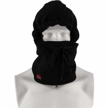 Thermo bivakmuts fleece zwart voor heren