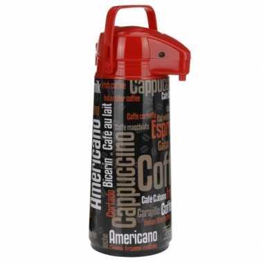 Thermosfles zwart/rood cappucino 1900 ml