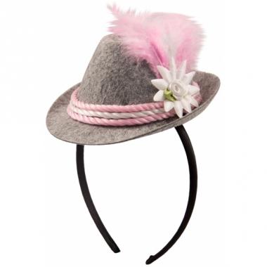 Tiara met roze oktoberfeest hoedje