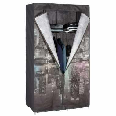 Tijdelijke mobiele kledingkast/garderobekast new york night met rits
