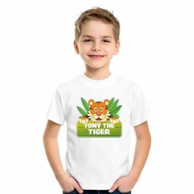 Tijger dieren t-shirt wit voor kinderen