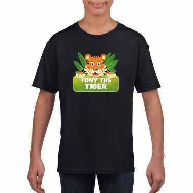 Tijger dieren t-shirt zwart voor kinderen