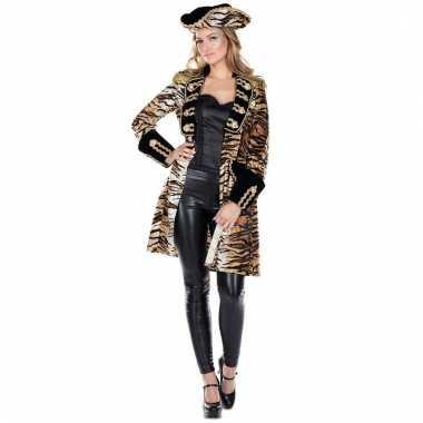 Tijgerprint dames piratenkleding jas