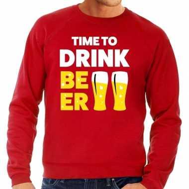 Time to drink beer fun sweater rood voor heren