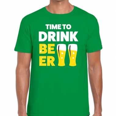 Time to drink beer fun t-shirt groen voor heren