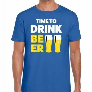 Time to drink beer fun t-shirt voor heren blauw