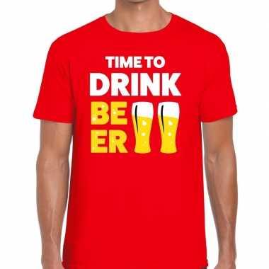 Time to drink beer fun t-shirt voor heren rood