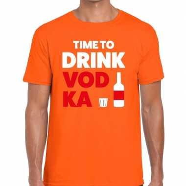 Time to drink vodka fun t-shirt oranje voor heren