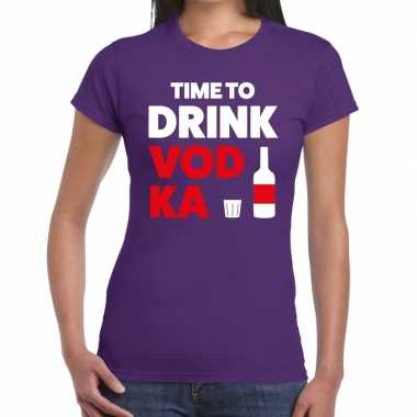 Time to drink vodka fun t-shirt paars voor dames
