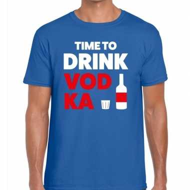 Time to drink vodka fun t-shirt voor heren blauw