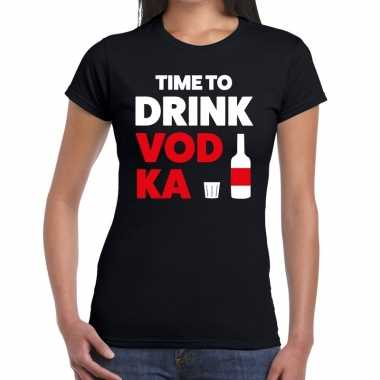 Time to drink vodka fun t-shirt zwart voor dames
