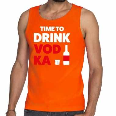 Time to drink vodka fun tanktop / mouwloos shirt oranje voor heren