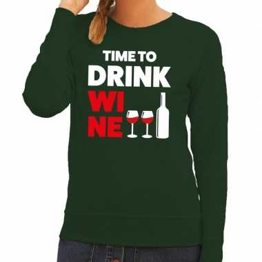 Time to drink wine fun sweater groen voor dames