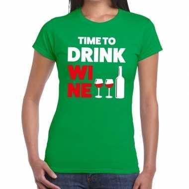 Time to drink wine fun t-shirt groen voor dames